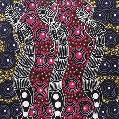 "THE ARTERY CONTEMPORARY ABORIGINAL ART GALLERY - Colleen Wallace Nungarrayi ""Dreamtime Sisters """