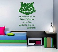 cat room decals - ik2583 Wall Decal Sticker Alice in Wonderland Cheshire Cat quote bedroom children's room * Read more at the image link. (This is an affiliate link) #CatRoom