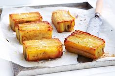 Potato Pave-thinly slice potatoes and layer with punchy rosemary for an elegant side. Potato Dishes, Potato Recipes, Savoury Recipes, Vegetable Sides, Vegetable Recipes, Vegetable Salad, Potato Pave, A Food, Food And Drink