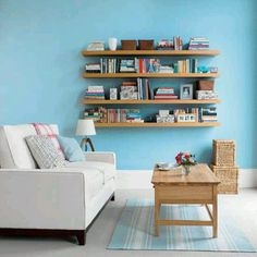 Love this floating bookshelf wall! One more project to add to the list.