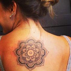 Mandala on upper back tattoo - http://99tattoodesigns.com/mandala-upper-back-tattoo/