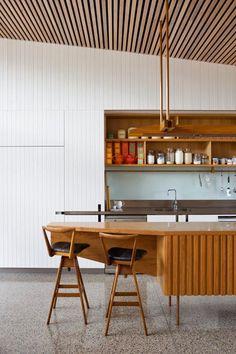 Matt Elkan Architecture / Mosman Project / photo by Simon Whitbread; rear addition to a brick cottage, #timber #white #kitchen