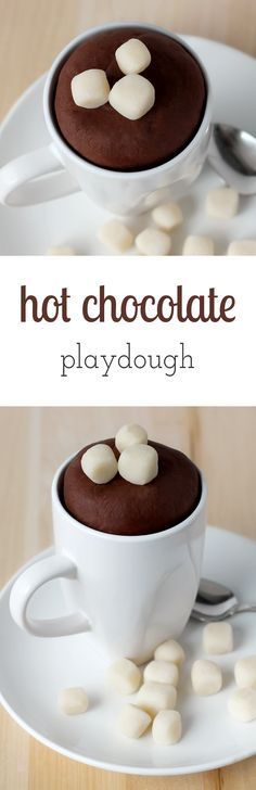 Hot Chocolate Playdough is easy to make! It smells like real chocolate and is fun winter sensory play for kids. Crafts For Kids To Make, Gifts For Kids, Kid Crafts, Children Crafts, Toddler Crafts, Kids Toys, Winter Activities For Kids, Preschool Ideas, Preschool Crafts