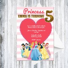 Disney Princess Invitation  DIGITAL by TheCuteKoala on Etsy
