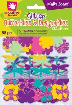 Fibre Craft - Creative Hands 1359E Glitter Foam Sticker Pack, Butterfly and Dragonflies
