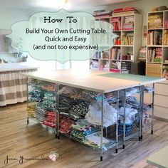 Build your own DIY cutting table for your sewing room (Stop staring and start sewing!) Build your own DIY cutting table for your sewing room Sewing Room Design, Sewing Room Storage, Sewing Spaces, Sewing Room Organization, My Sewing Room, Craft Room Storage, Sewing Rooms, Sewing Diy, Craft Rooms