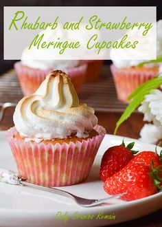 These Rhubarb Strawberry Meringue Cupcakes are a delicious pretty twist on Lemon Meringue cupcakes. The slightly sharp curd filling contrasts beautifully with the sweet marshmallowy Italian meringue. Filled Cupcakes, Lemon Cupcakes, Fun Cupcakes, Cupcake Cakes, Muffin Recipes, Cupcake Recipes, Dessert Recipes, Bar Recipes, Kitchen Recipes