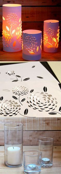 Luminária romântica - DIY These are beautiful and can be made for any occasion. Easy Diy Projects, Craft Projects, Projects To Try, Craft Ideas, Diy Paper, Paper Art, Paper Crafts, Crafts To Make, Easy Crafts