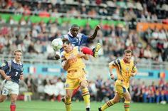 France 1 Romania 0 in 1996 at St James Park. Lilian Thuram heads just wide early on in the Group B game at Euro '96.