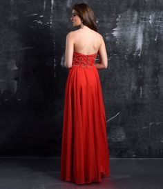 Preorder Nina Canacci 1300 Red Strapless Sweetheart Embellished Chiffon Gown For Prom 2017
