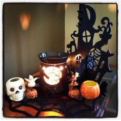My Halloween Scentsy display from last year....looking forward to what warmers Scentsy brings out this year!  I love Fall! Glowingflameless.scentsy.us