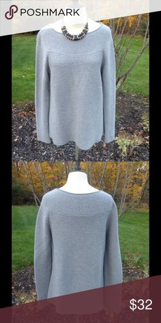 Talbots Sweater Gray ribbed design sweater. Neck has a swooped smaller ribbing to set it off from the rest of the sweater. Cotton and rayon blend. EUC Talbots Sweaters Crew & Scoop Necks