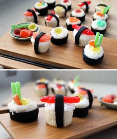 dessert sushi So if you really have a lot of time on your hands, this is what you need to do sushi cupcakes complete with recipes Wenn Sie also wirklich viel Zeit zur Verfgung haben, mssen Sie dies tun Sushi-Cupcakes mit Rezepten Sushi Cupcakes, Mini Cupcakes, Birthday Cupcakes, Funny Cupcakes, Fathers Day Cupcakes, Summer Cupcakes, School Cupcakes, Fathers Day Cake, Themed Cupcakes
