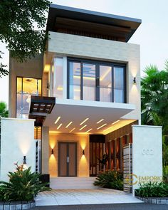 Herlina Private House Design - Sumatera Utara- Quality house design of architectural services, experienced professional Bali Villa Tropical designs from Emporio Architect. Small House Exteriors, Modern House Facades, Modern Exterior House Designs, Dream House Exterior, Narrow House Designs, Modern Small House Design, Minimalist House Design, Modern Contemporary House, Small Modern Home