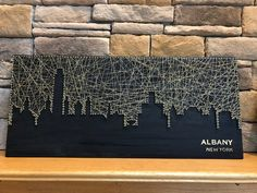 City Skyline String Art You Choose the City String Wall Art, Nail String Art, Diy Birthday Gifts For Dad, City Art, City Skyline Art, String Art Patterns, Diy Canvas Art, Japanese Embroidery, Flower Embroidery