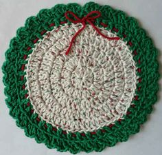crocheted christmas dishcloths patterns | Best Free Crochet » #179 Wreath Crochet Dishcloth – Maggie Weldon ...