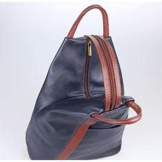 84d57d3aa87f9 Made in Italy Damen echt Leder Rucksack Backpack Lederrucksack Tasche  Schultertasche Ledertasche Nappaleder Dunkelblau-Braun