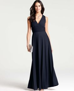 Ann Taylor Classic Navy Satin Gown. Also comes in Cranberry #holidaydress