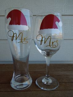 CHRISTMAS Mr and Mrs Wine Glass and Pilsner by SoBadorable, $27.00 - love these for me and my honey. Will go good with our new casa :)