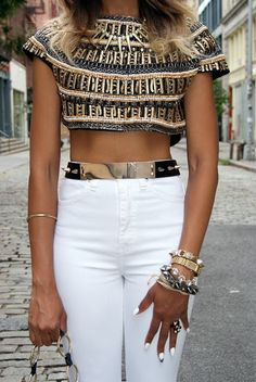 Zara beaded bolero and sandals, Asos metal and spike belt , Nasty Gal The Kink high-rise skinny jean , Top Shop pearl and spike necklace, Club Monaco stone bracelet and Bonnie wrap bracelet , vintage watch, vintage Yves Saint Laurent handbag, spike bangles from Melrose and SoHo