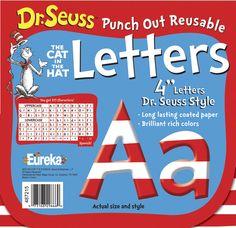 Eureka Dr. Seuss Deco Letters, 4 in, Stripes