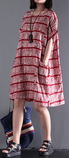 Original strips linen dresses short sleeve red casual dress oversize sundresses