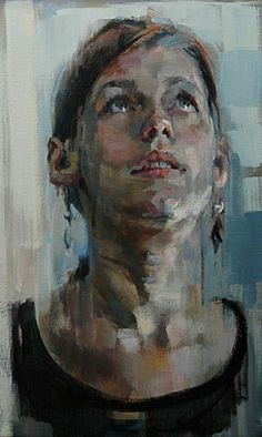 Artist: Shaun Ferguson {contemporary figurative #expressionist art beautiful female head grunge woman face portrait cropped smudged painting #loveart} <3