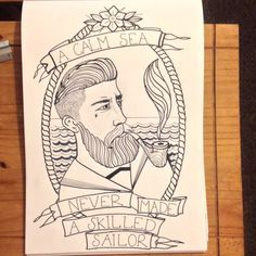 I wanted something to put on my bathroom wall, something Nautical. So I drew a bit of Navy inspired Neo Traditional style Tattoo Flash. Bearded Sailor with a pipe. Will add colour tomorrow. Navy Tattoos, Tatoos, Pirate Symbols, Traditonal Tattoo, Traditional Style Tattoo, Becoming A Tattoo Artist, Pirate Tattoo, Boat Art, Tattoo Flash Art