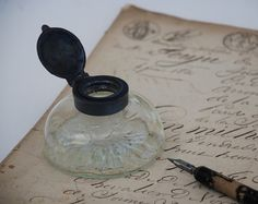Antique Glass Inkwell  French Desk by FrenchTouchBoutique on Etsy