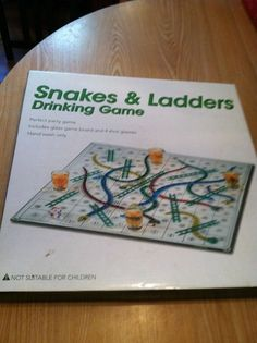 Snakes and Ladders Drinking Game, Glass Board, 4 Shot Glasses & Die - New