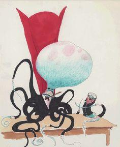 tim burton, art, illustration, mixed media, untitled (creature series) 1994 (pen, ink, watercolor wash, colored pencil)