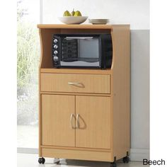 Rolling Kitchen Utility Microwave Cart Large Wood Shelf Drawer Storage Cabinet