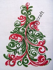 'Christmas Tree' Cross Stitch Chart OR Kit! DMC Thread - 16ct Aida - 2 Sizes