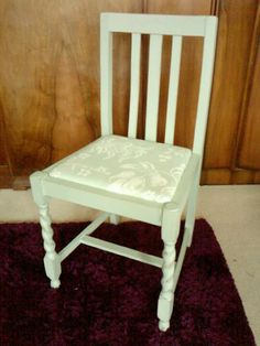 Soft Green 1930's Dining Chair with upholstered seat