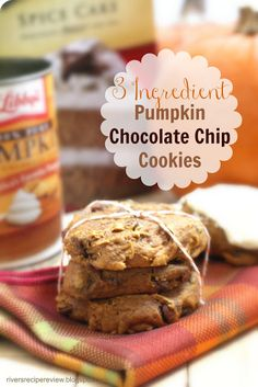 3 ingredient Pumpkin Chocolate Chip Cookies : This soft, cake-like cookie is too easy and delicious not to make!!