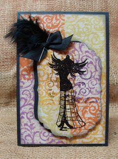 steampunk halloween card featuring stamps from Hamton Art and ColorBox Chalk and Pigment Inks and Top Boss Embossing Powder --- tami sanders