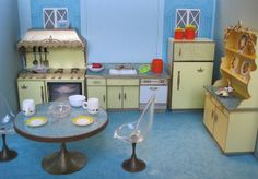 Ideal Petite Princess Dollhouse Kitchen Furniture, 1960's