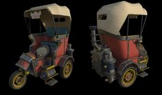 3D model of Steampunk taxi by Yurii Stasiuk. Original concept by Morten Skaalvik