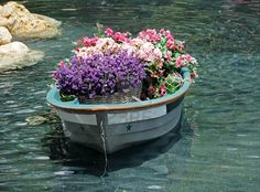 Old wooden boat used for flower bed. Now I just need a pond. lol