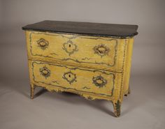 Painted Chest of Drawers | Painted Italian serpentine chest of drawers, the marbleized top over ...