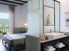Aegean Rhapsody: Skiathos Blu Hotel by Studio Stones & Walls Skiathos, Hotel Room Design, Design Living Room, Design Blog, Modern Bathroom Design, Bathroom Furniture, Home Interior, Home Decor, Florida Hotels