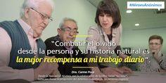 Infografía sobre Carme, quién trabaja para frenar la progresión del deterioro cognitivo en las personas mayores #HéroesAnónimos