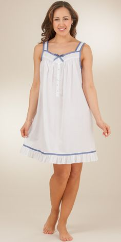 Sleeveless Eileen West 100% Cotton Lawn Short Nightgown - Seaside Gingham