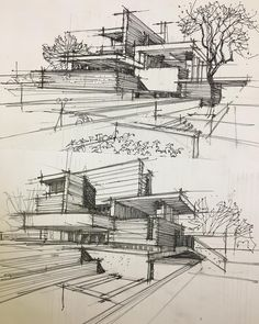 Architecture Concept Drawings, Watercolor Architecture, Architecture Sketchbook, Architecture Student, Architecture Design, Bamboo Architecture, Amazing Architecture, Conceptual Drawing, Modern Architects