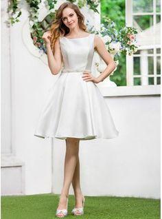 A-Line/Princess Scoop Neck Knee-Length Satin Wedding Dress With Beading Sequins (002052770) - JJsHouse
