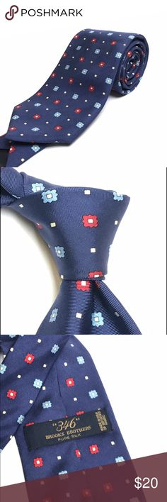 Brooks Brothers Blue Geometric Pattern Silk Tie EUC Brooks Brothers Pure Silk Neck Tie with blue and red Geometric pattern. Pre-owned... no heavy stains or snags found. Brooks Brothers Accessories Ties
