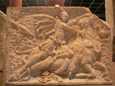 Mithras slaying the bull. This site has many interest facts and pics about the cult. Mithraism was the most important mystery cult. It spread quick in Rome.