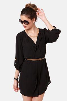 Cute Black Dress - Belted Dress - Shirt Dress - $41.00