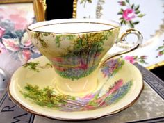 AYNSLEY TEA CUP AND SAUCER YELLOW & MEADOW PATTERN TEACUP CORSET SHAPE