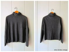 Super soft and gorgeous. Please double bust, waist and hips to get the total measurement around the garment. Vintage Sweaters, Wool Sweaters, Grey Sweater Womens, Cashmere Turtleneck, Minimal, High Neck Dress, Turtle Neck, Pullover